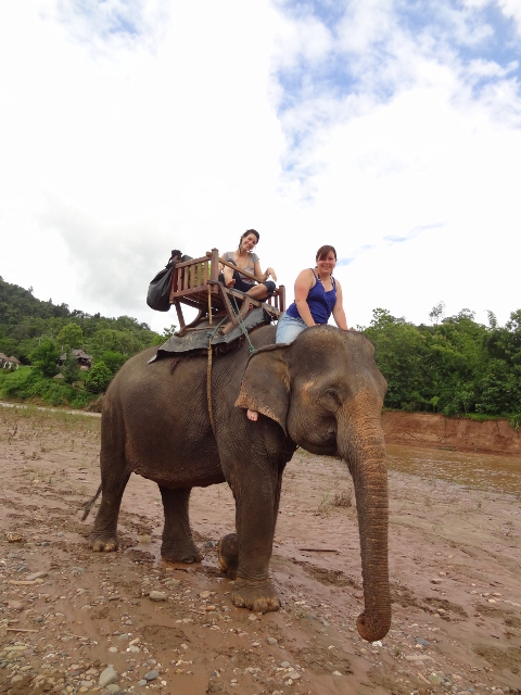 Elephant ride, Tiger Trail Laos Elephant Village tour