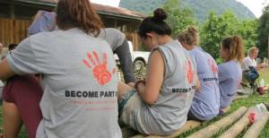 volunteers bamboo playground