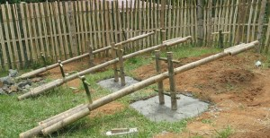 bamboo teeter totter or seesaw