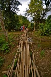 Laos Trekking Bamboo Bridge