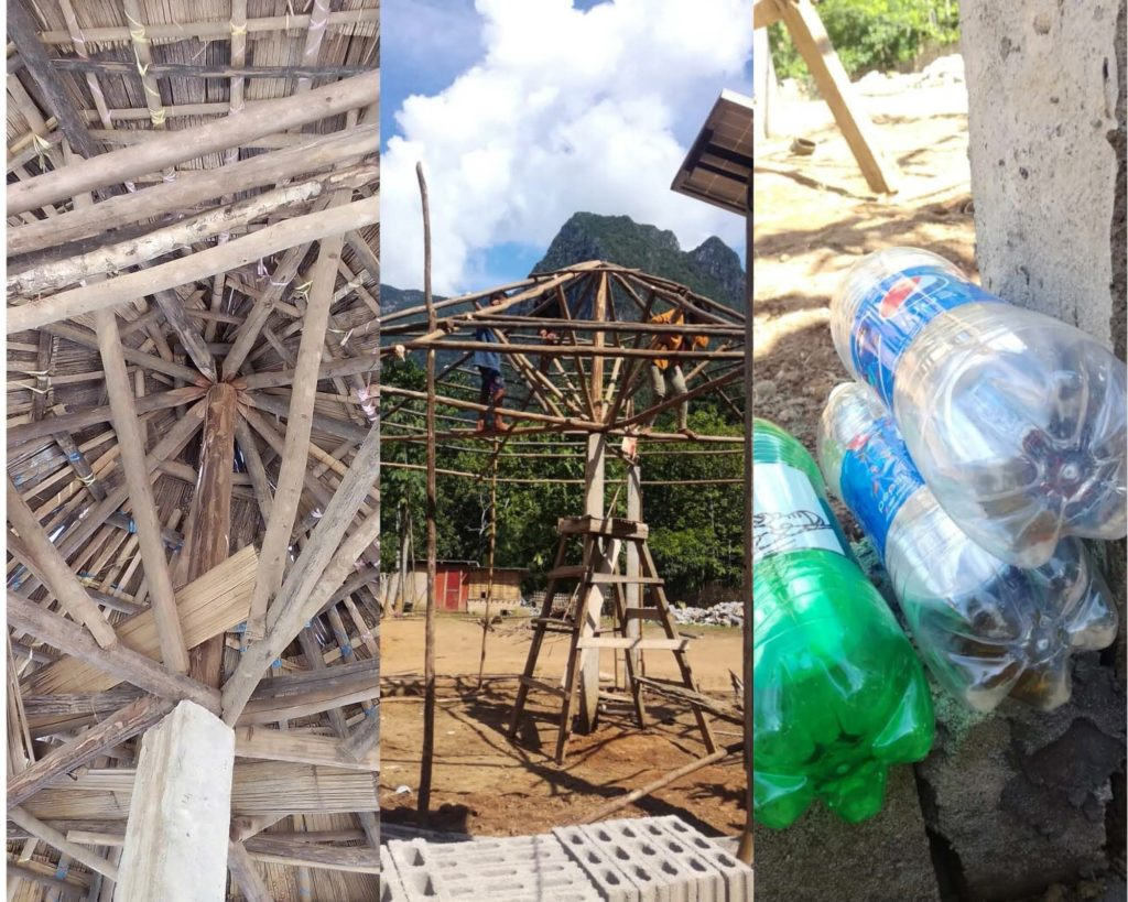 Current progress on the Recycled Water Bottle Build in Ban Huay Fai, left to right; interior of the roof at present, beginning construction of the structure, aligning bottles to illustrate the future composition of the walls