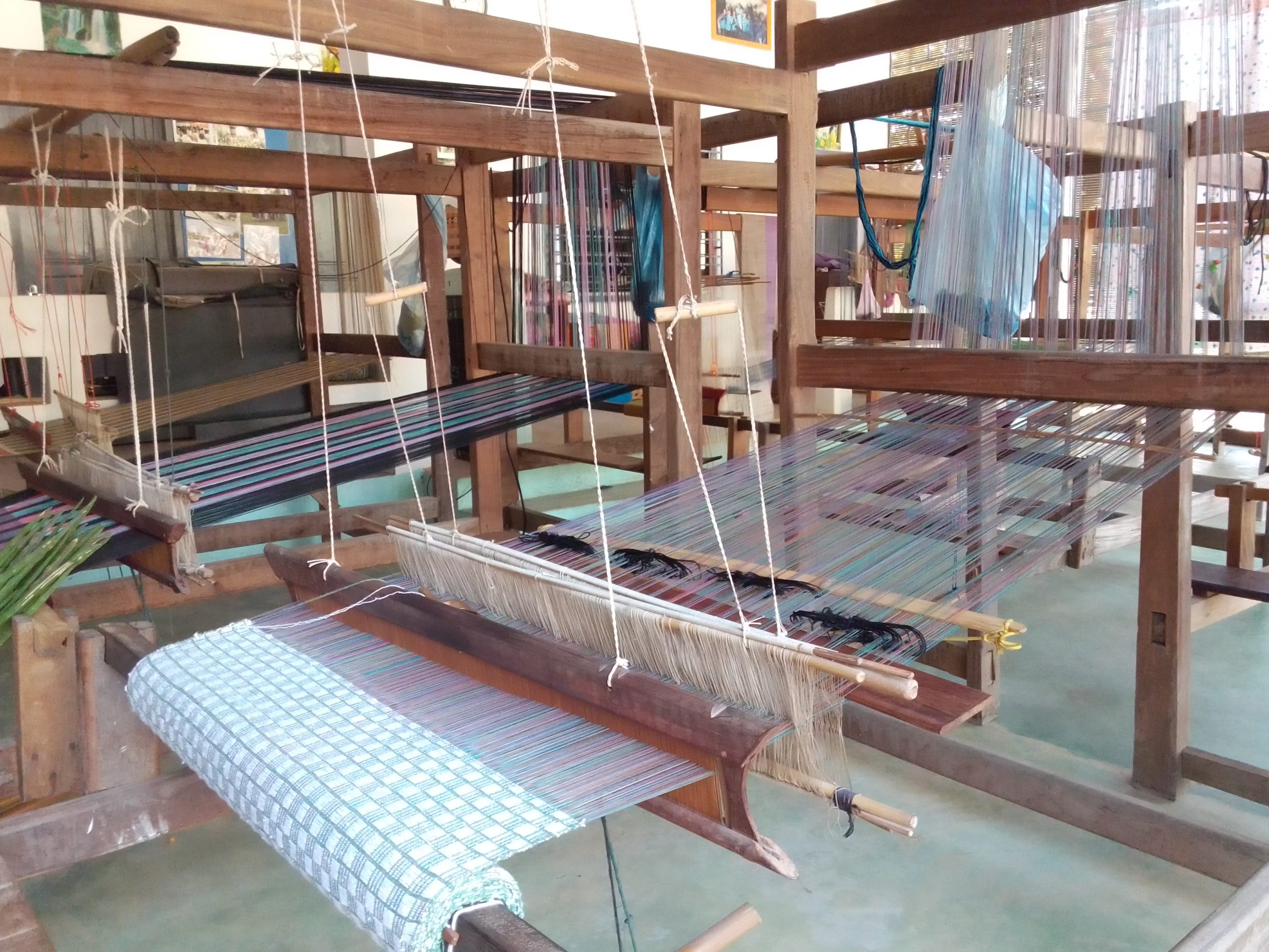 Floor looms with projects, at rest, Luang Prabang Deaf & Mute Community Training Centre
