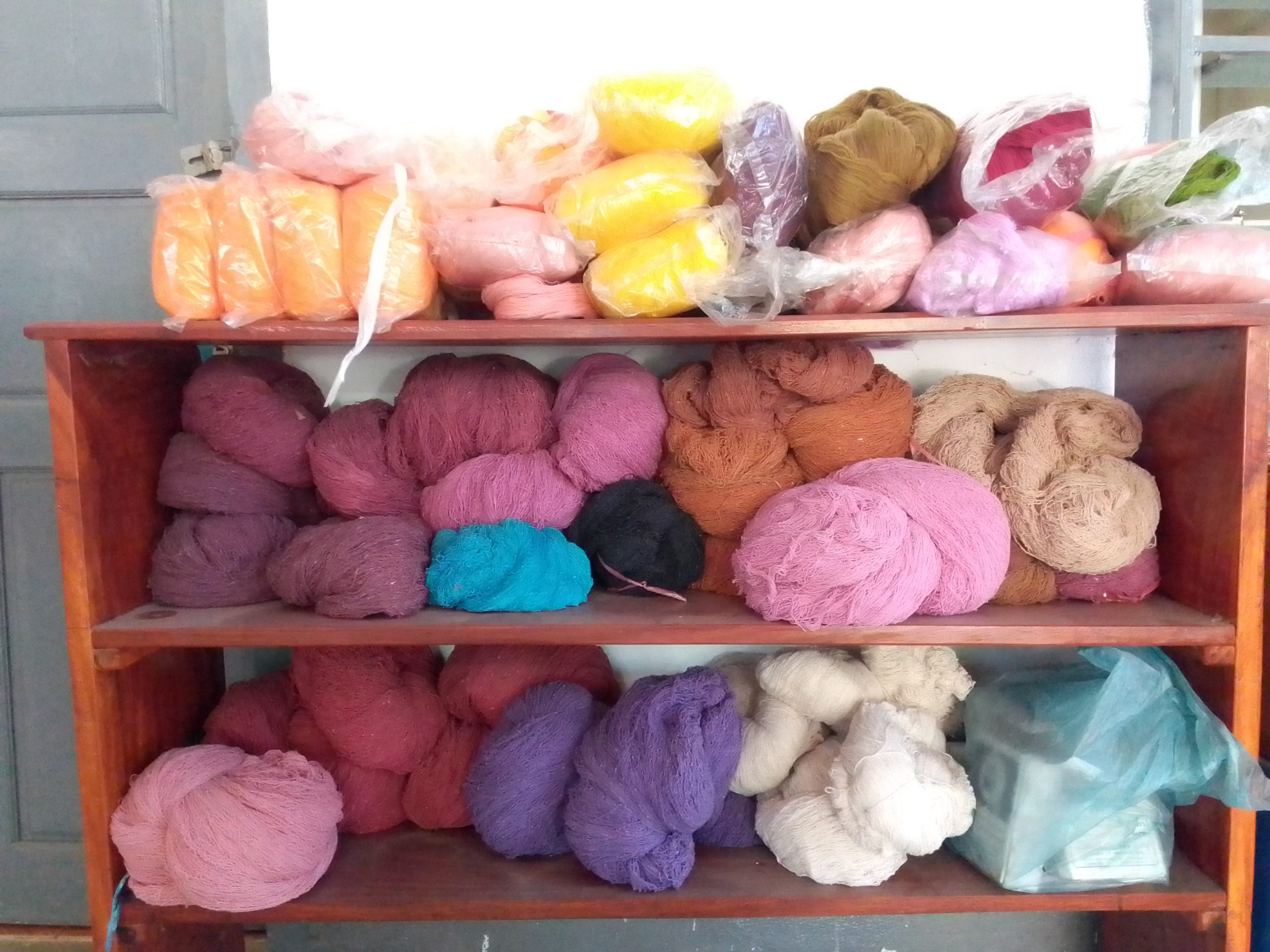 Hand dyed yarn ready for use.