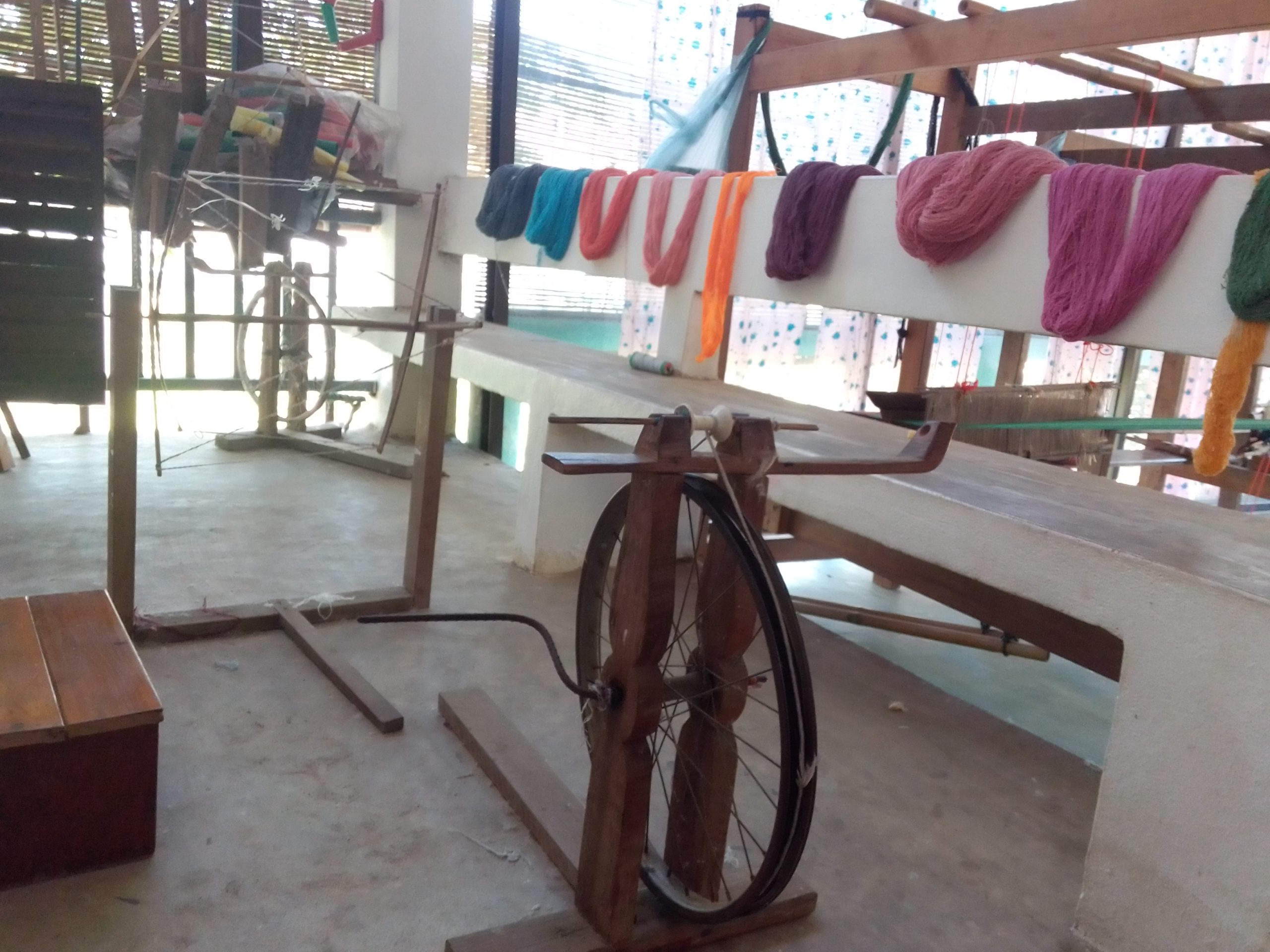 Spinning wheel & hand dyed yarn