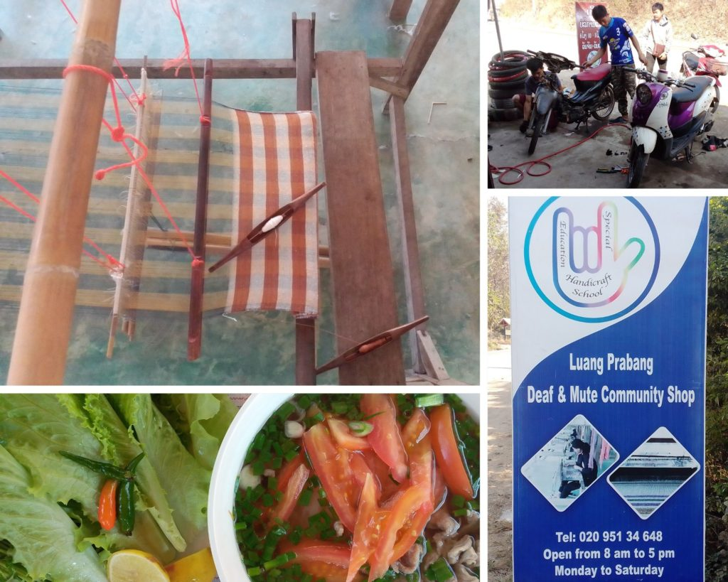 Weaving loom with a partial completed project, the mechanic shop, and noodle soup on offer at the Luang Prabang Deaf & Mute Community Training Centre.