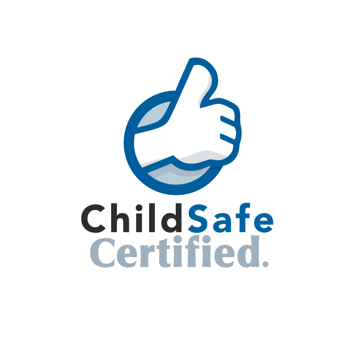 ChildSafe Certified logo, a blue hand with the 'thumbs up' signal being given and the words ChildSafe Certified